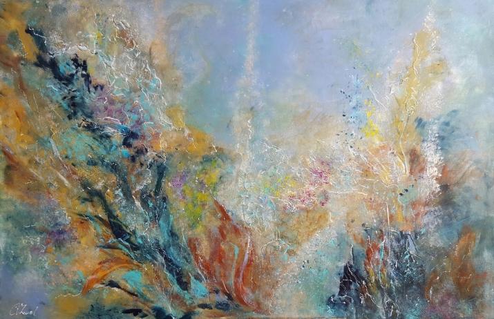 Onderwater wereld acryl op doek 115 x 75 cm